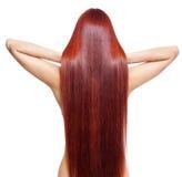 Näck kvinna med långt rött hår Arkivbilder