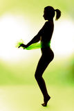 Näck kvinnasilhouette Arkivbild