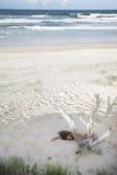 Näck ung dam som sover i sand på stranden arkivfoto