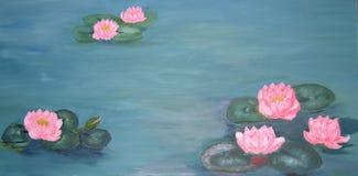 näckrosor för guldfiskoljemålning Royaltyfria Bilder