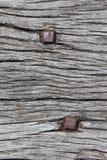 Nägel im alten Holz Stockfoto