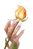 Nägel und Blume Stockfoto