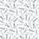 Nägel und nahtloses Muster der Schrauben Lizenzfreies Stockfoto