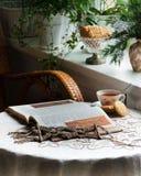 näharbeit Ummauern Sie Weidendekoration im Stil der Makramee, für Töpfe stockbilder