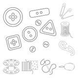 Nähen, Atelierentwurfsikonen in der Satzsammlung für Design Tool-Kit-Vektorsymbolvorrat-Netzillustration Stockfoto