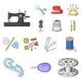 Nähen, Atelierkarikaturikonen in der Satzsammlung für Design Tool-Kit-Vektorsymbolvorrat-Netzillustration Lizenzfreie Stockfotos