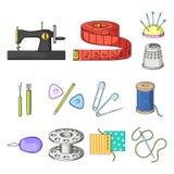 Nähen, Atelierkarikaturikonen in der Satzsammlung für Design Tool-Kit-Vektorsymbolvorrat-Netzillustration Stockbilder