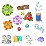 Nähen, Atelierkarikaturikonen in der Satzsammlung für Design Tool-Kit-Vektorsymbolvorrat-Netzillustration Lizenzfreie Stockbilder