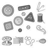 Nähen, einfarbige Ikonen des Ateliers in der Satzsammlung für Design Tool-Kit-Vektorsymbolvorrat-Netzillustration Lizenzfreies Stockfoto