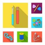 Nähen, flache Ikonen des Ateliers in der Satzsammlung für Design Tool-Kit-Vektorsymbolvorrat-Netzillustration Stockfoto