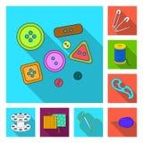 Nähen, flache Ikonen des Ateliers in der Satzsammlung für Design Tool-Kit-Vektorsymbolvorrat-Netzillustration Stockfotos