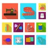 Nähen, flache Ikonen des Ateliers in der Satzsammlung für Design Tool-Kit-Vektorsymbolvorrat-Netzillustration Lizenzfreie Stockbilder