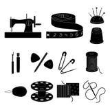 Nähen, schwarze Ikonen des Ateliers in der Satzsammlung für Design Tool-Kit-Vektorsymbolvorrat-Netzillustration Stockfoto