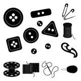 Nähen, schwarze Ikonen des Ateliers in der Satzsammlung für Design Tool-Kit-Vektorsymbolvorrat-Netzillustration Stockbilder