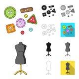 Nähend, umreißen Atelierkarikatur, das Schwarze, flach, einfarbig, Ikonen in der Satzsammlung für Design Tool-Kit-Vektor-Symbolvo Lizenzfreie Stockfotos