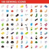 100 nähende Ikonen eingestellt, isometrische Art 3d Stockfotos