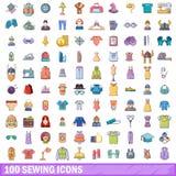 100 nähende Ikonen eingestellt, Karikaturart Stockbilder