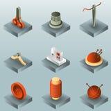 Nähende isometrische Ikonen der Farbsteigung Lizenzfreies Stockfoto