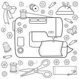 Nähende Projektwerkzeuge und -ausrüstung Malbuchseite lizenzfreie abbildung