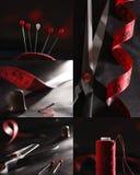 Nähende Versorgungen rot und schwarze Farbcollage Stockbilder