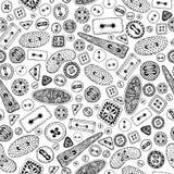 Nähendes nahtloses Muster der Knöpfe der Weinlesekarikatur Stockbilder
