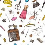 Nähendes nahtloses Muster Werkzeuge und Elemente oder Materialien für Näharbeit Schneidergeschäft für Ausweisaufkleber Faden und stock abbildung