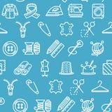 Nähenund Näharbeit-Werkzeug-Muster-Hintergrund auf einem Blau Vektor stock abbildung