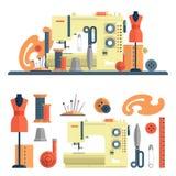 Nähmaschine, Zubehör für Dressmaking und handgemachte Mode Vektorsatz flache Ikonen, lokalisierte Gestaltungselemente Lizenzfreies Stockfoto