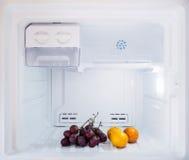 Nähren Sie die Frucht, etwas Orange und Traube, die in den Gefrierschrankkühlschrank eingesetzt werden Lizenzfreie Stockfotografie
