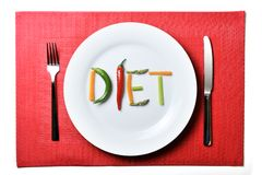 Nähren Sie geschrieben mit Gemüse in gesundes Nahrungskonzept Lizenzfreie Stockfotografie