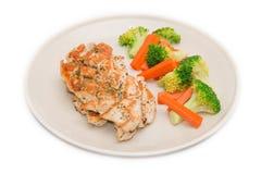Nähren Sie Lebensmittel, das saubere Essen, Frühstück, Huhn und Gemüse Stockfotos