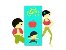 Nähren Sie Programm durch die fetten und dünnen Zahlen Frau Lizenzfreie Abbildung