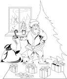 när du bär jul claus presenterar santa Arkivbild