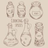 När du gör till kok kryddor ställde in tappning skissar stiliserat i vektorn EPS8 för kuttrande royaltyfri illustrationer
