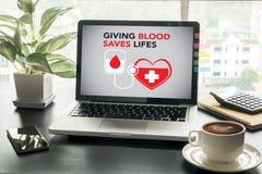 När DU GER BLOD SPARAR LIFES-bloddonation ger liv Royaltyfri Fotografi
