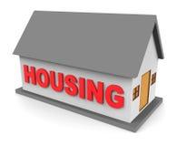 När du inhyser huset visar Real Estate och den byggande tolkningen 3d Arkivfoto