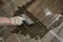 När du lägger tegelplattan stiliserade trädet på det isolerade golvet Arkivbild