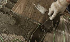 När du lägger tegelplattan stiliserade trädet på det isolerade golvet Arkivbilder