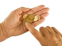 när du räknar euros isolerade pengar Royaltyfria Foton