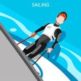 När du seglar loppsommar spelar symbolsuppsättningen isometrisk sjöman 3D vektor illustrationer