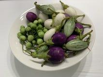 Nära övre äggväxt i den vita maträtten royaltyfria foton