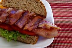 Nära övre för baconsmörgås royaltyfria foton