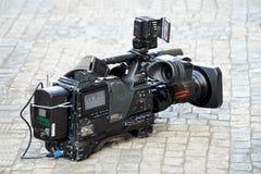 Nära övre för Camcorder Slapp fokus fotografering för bildbyråer