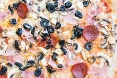 Nära övre för peperoniPizza Fotografering för Bildbyråer