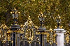 Nära övre sikt av guld- detaljer på det svarta staketet arkivfoto