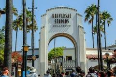 Nära övre sikt av Universal Studios Hollywood i Los Angeles USA arkivbilder
