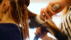 Nära övre skott av lång håruttorkning av specialisten i brunnsortsalong stock video