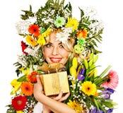 Nära övre smink med blomman. Royaltyfria Foton