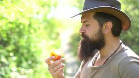 Nära övre stående av manbonden med äpplet som har gyckel i en lantgård livstid f?r kattunge f?r kattlandsko Hipsterbonde som kopp lager videofilmer