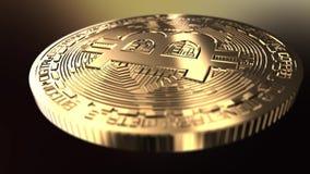 Nära Bitcoin - sköt upp - framförd animering stock video